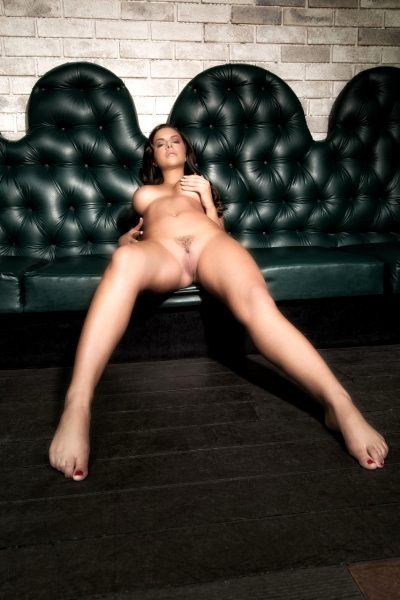 lounge, leather couch, barefoot, touching self