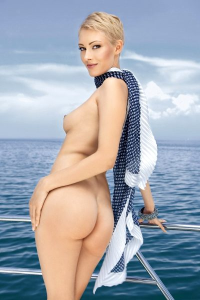 Model appeared on cover,  PB Slovenia Playmate of the Year 2009, yacht, boat, sea, scarf