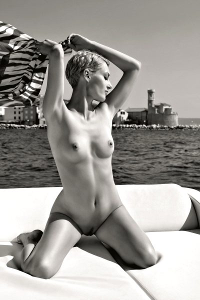 Model appeared on cover,  PB Slovenia Playmate of the Year 2009, yacht, boat, sea, sun bathing, veil, scarf, wind