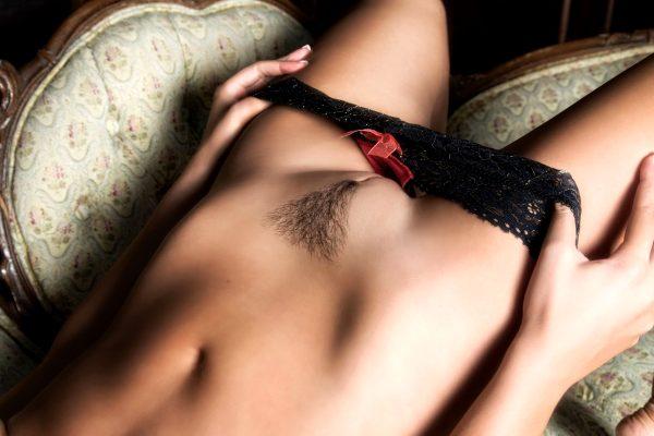 chaise, black lingerie, flashing, undressing, body detail