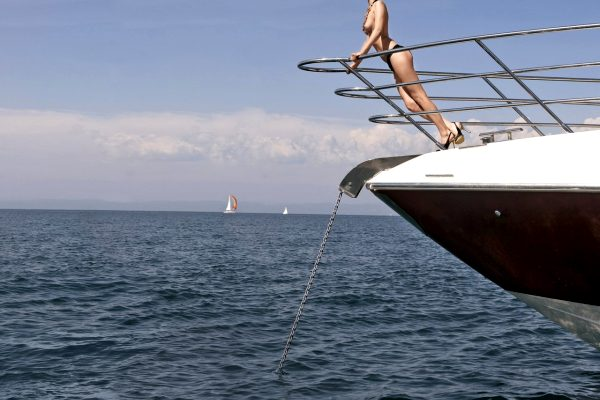 Model appeared on cover,  PB Slovenia Playmate of the Year 2009, yacht, boat, sea, sun bathing